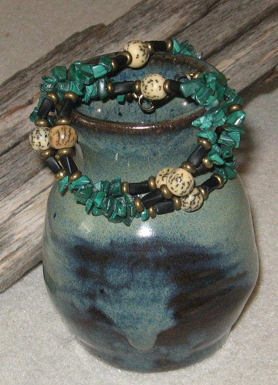 Malachite and Buri Root  Necklace