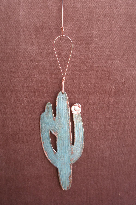 SAGUARO CACTUS Copper Verdigris Ornament - Handcrafted in The Copper State (Arizona USA)