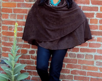 One Size -  lightweight Polar Fleece Shawl/Poncho. Color shown in large photo is Brown