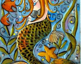 mermaid, pdf pattern, pattern, black and white pattern, diy, ocean, fish, seashells, decoration, painting