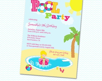 Girl's Pool Birthday Party Printable Invitation - Print your own