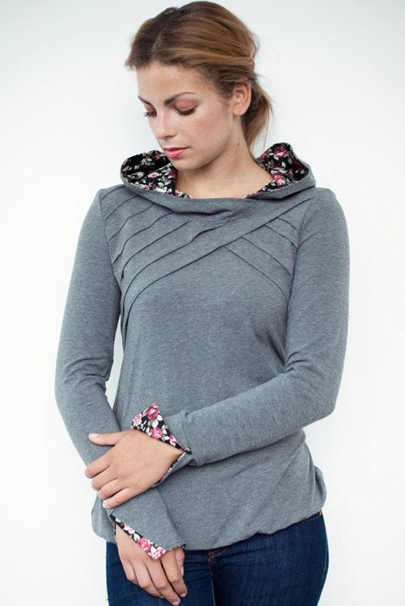 floral hoodie shirt - grey - lamellar piping