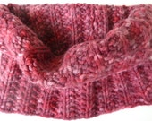 Hand Knit Cowl - Deep Rose, Pinks and Red Bulky Gaiter