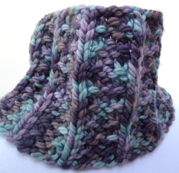 Reserved On Sale Chunky Cowl Scarf Blue Lavender Varigated Yarn