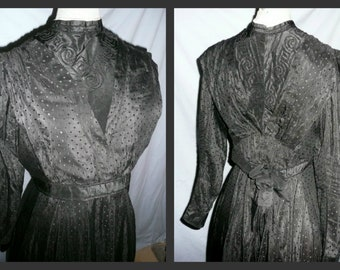 Edwardian Victorian Vintage 1900's Mourning Day Dress in black cotton 2pcs