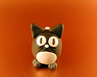 Cat Sculpture - Black and White Egg Shaped