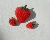 fruit jewelry, Strawberry jewelry, Fruit Brooch,  Strawberry earrings, enamel jewelry