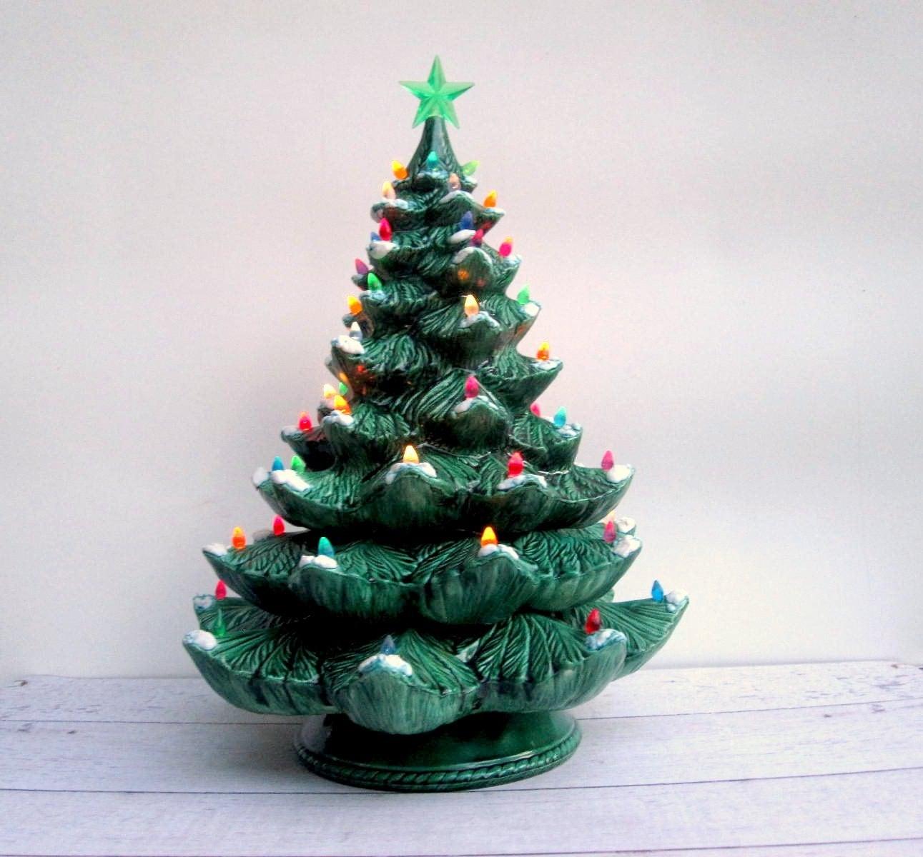 Big Christmas Tree Lights: Lighted Ceramic Christmas Tree Giant Size With Lamp Base