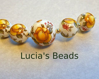 NEW Gorgeous Yellow Rose Japanese Tensha Bead Graduated Set