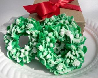 Stocking Stuffer Soap - Christmas Wreath Soap - Christmas decor - stocking for her - stocking for teen - gift of girls - gift for her