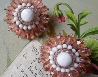 Big Vintage West Germany Pink & White Crystal Earrings
