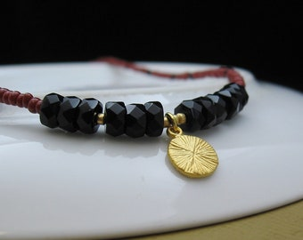 Matte Gold Brushed Disc/Sun, Facetted Onyx Rondelles, Red & Black Seed Beads - Necklace by We Are 1 (No. 4872)