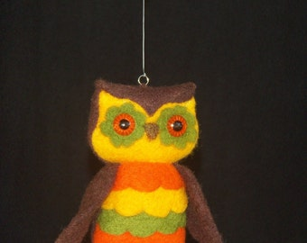 Owl - Needel Felted Owl - Hippie Boho Vintage Inspired Owl Ornament