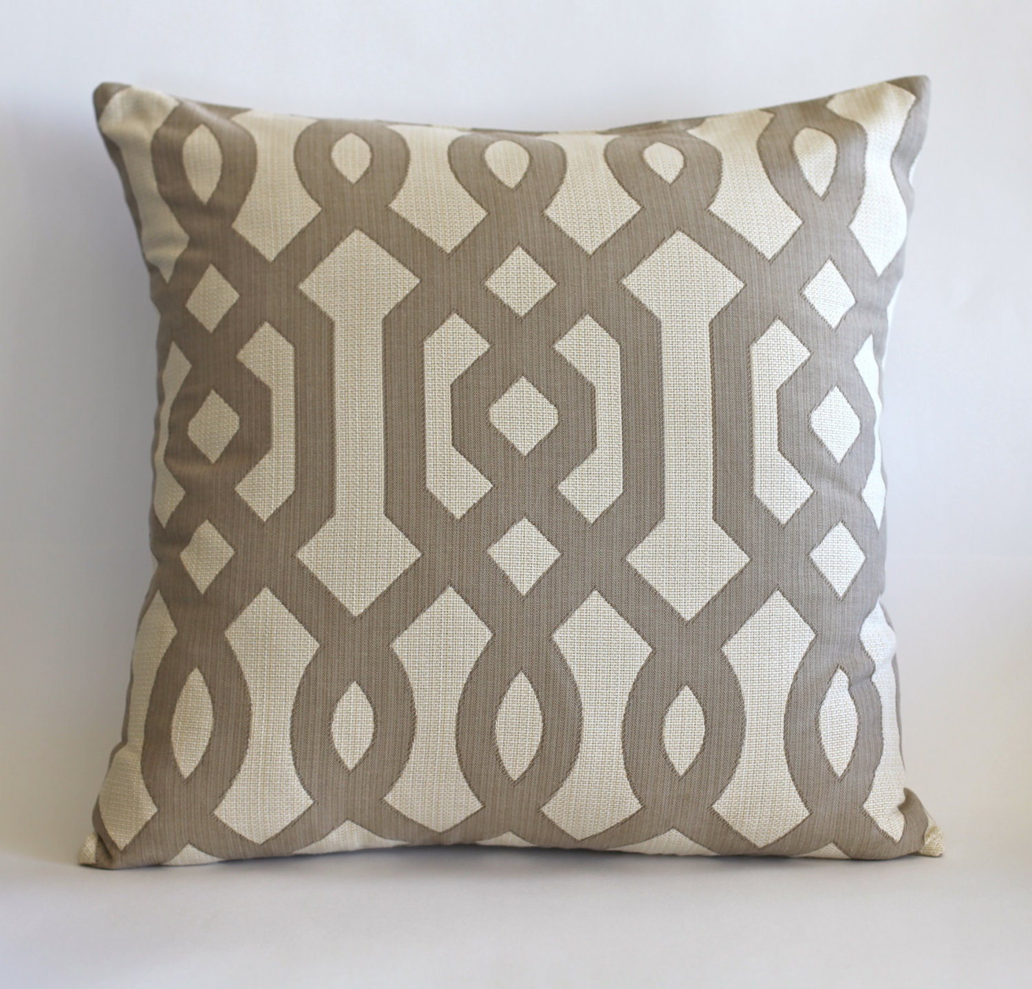 20x20 lattice print design taupe and beige on luxurious linen
