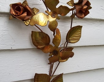 Vintage Copper and Brass Candle Sconce Wall Hanging Copper Roses