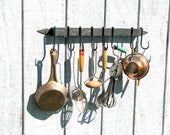 Hand Forged Iron Arrow Head Ends Hammered-Style Pot or Utensil Rack and Hooks by VinTin