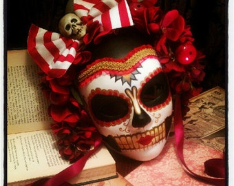 Apple Doll - Day of the Dead Circus Pierrot Mask -  Candyland Peppermint Stripes Red Black Dia de los muertos Calavara Pirate Sugar Skull