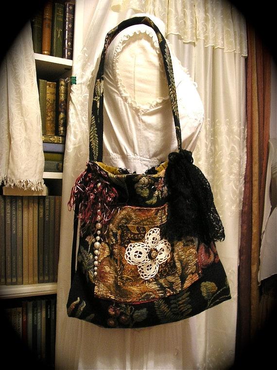 Bohemian Tapestry Bag handmade black granny shoulder bag thick upholstery fabric bag LARGE