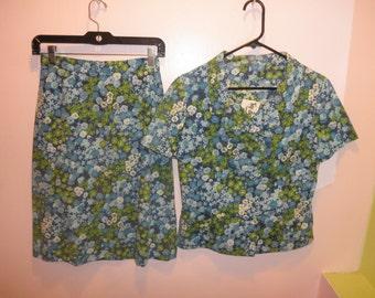 60s floral suit set 1960s green blue flower print dress skirt shirt jacket set size medium M