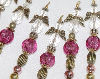 Christmas Angel Ornaments - Pink and Gold Bead Icicles - holiday beaded decor