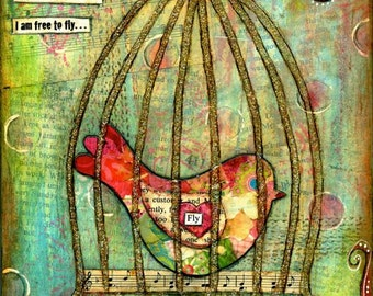 Mixed Media Painting - Print Mounted on Wood - Freedom