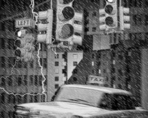 Yellow Taxi Cab with Traffic Lights, Rain Storm and Lightning Bolts in Urban Cityscape No.13633BW Award Winning Surreal Fantasy Photograph