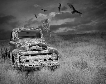 Turkey Vultures and an Abandoned Ford Truck on the Prairie No.10BW A Black and White Fine Art Surreal Fantasy Landscape Photograph