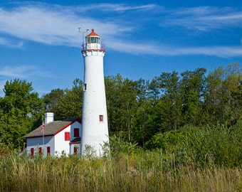Sturgeon Point Lighthouse on the Lake Huron Shore in Michigan No.0195 Fine Art Lighthouse Seascape Photography