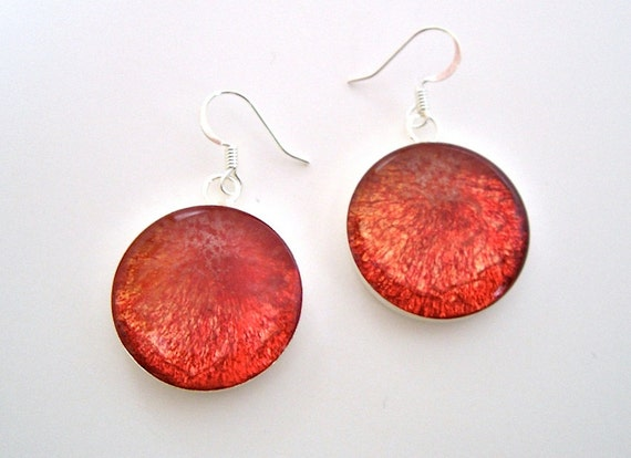Pluot Plum Earrings -  Real Fruit Jewelry
