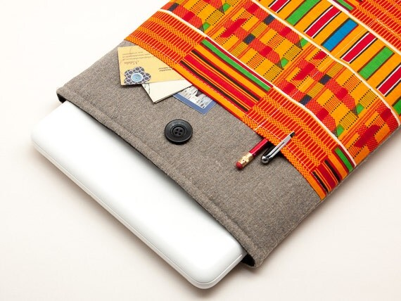 13 inch Macbook Pro case. Linen Macbook 13 sleeve with African print kente-style pocket. Custom bag, pouch and other cover orders available