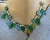 Flower Garland Necklace in Blues and Greens