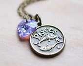 Pisces Zodiac Necklace - Amethyst Purple AB Swarovski Crystal Heart Astrology Birthday