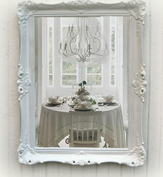 Shabby Chic White Mirror Antique Parlor Mirrorcottage Chic