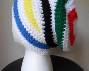 Slouchy Slacker Beanie - Blue Yellow Black Green Red - MTG Olympic Rainbow and White Stripe  - Size MEDIUM