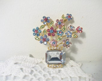 Gold Multicolor Rhinestones Floral Pin /