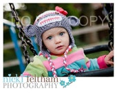 Crochet Sock Monkey Ear flap beanie hat in grey white and red