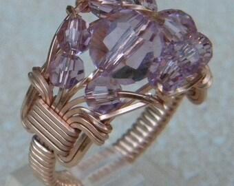 Rose Gold Amethyst Crystal Ring, Swarovski crystal ring, rose gold wire wrapped ring, light amethyst gold ring, pink gold ring, crystal ring