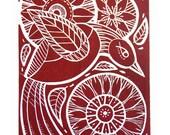 Flight -Original Handprinted Red Linocut Print