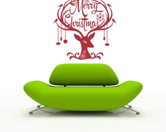 Merry Christmas Deer decal sticker- Christmas around the world