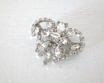 Vintage Rhinestone Butterfly Brooch Large Rhodium Plated Mid Century Costume Jewelry GallivantsVintage