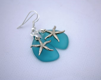 Aqua Sea Glass Earrings, Star Fish Starfish Earrings Seaglass Earrings Starfish Jewelry Sea Glass Jewelry Beach Jewelry Seaglass Jewelry 069