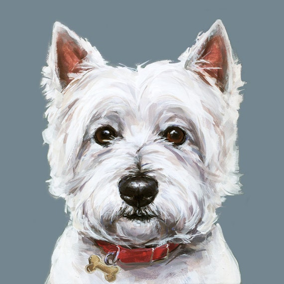 Westie dog painting art print ltd ed collectable west for Dog painting artist