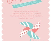 Custom Printable Pinwheel Party Birthday Invitation - (2) digital files