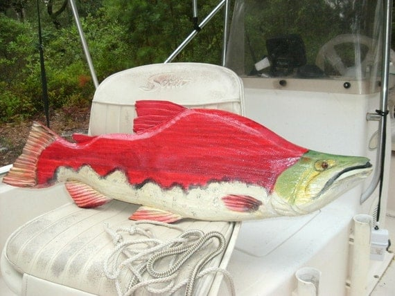 "Sockeye Salmon 28""chainsaw wood carving Red Salmon sculpture river fish rustic home wall mount centerpiece sport fishing home decor art"
