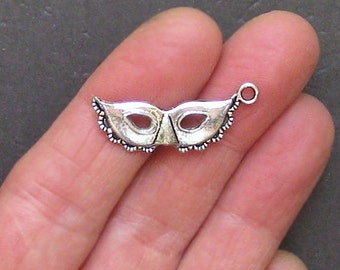 8 Mask Charms Antique  Silver Tone - SC1430