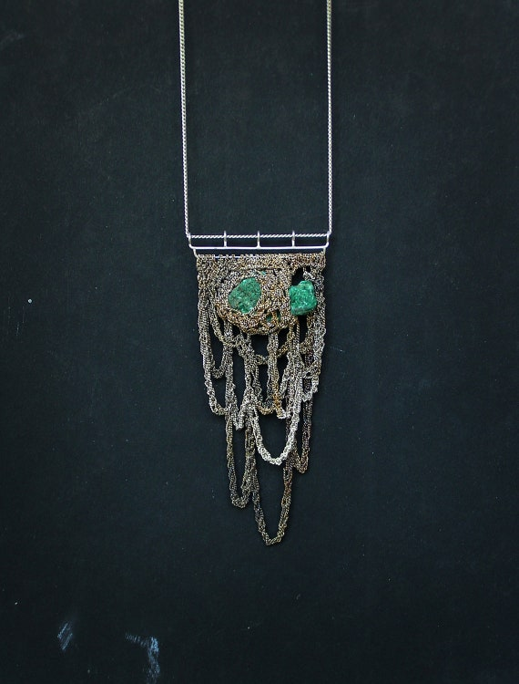 Reserved for Sara - bohemian mama raw malachite and silver crocheted necklace