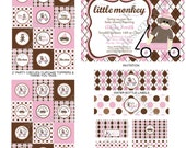 DIY -  Printable: Customized Sock Monkey Baby Girl Shower - Set of 15 Items