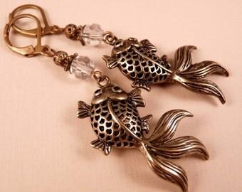 Brass Earrings Earrings Brass Jewelry Fish Jewelry Beaded Earrings Beaded Jewelry Crystal Jewelry