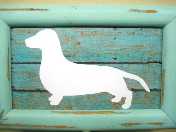Shabby Chic Dachshund Silhouette and Frame