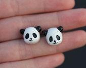 panda bear stud earrings, black and white, artisantree